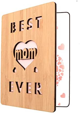 Happy Mother's Day Card For Mom, Best Mom Ever Wooden Greeting Card, Birthday Card For Mom- Unique Gift For Mom