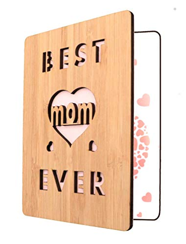 Happy Mother's Day Card For Mom, Best Mom Ever Wooden Greeting Card, Birthday Card For Mom- Unique Gift For Mom (The Best Birthday Card Ever)