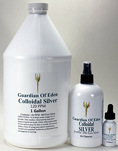 Dropper Top Silver (GOE 1 Gallon 120ppm Colloidal Silver & 16 Fl Oz 20ppm Colloidal Silver Spray Bottle + FREE 1 Oz 120ppm Colloidal Silver FILLED dropper bottle! Lab Tested.)