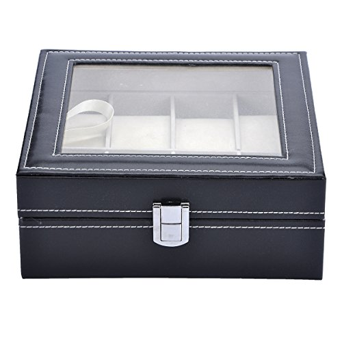 VALYRIA Watch Box Large 8 Mens Black Leather Display Glass Top Jewelry Case Organizer by Valyria
