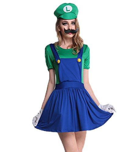 Blugibedramsh Womens Super Mario Skirt Halloween Cosplay Adult Costume