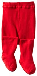Jefferies Socks Baby Girls\' Seamless Organic Cotton Tights, Red, 6 18 Months