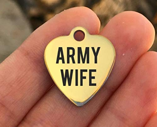 Army Stainless Steel Charm - Army Wife - Laser Engraved - Made To Order - Gold Plated - Quantity Options - ZF478