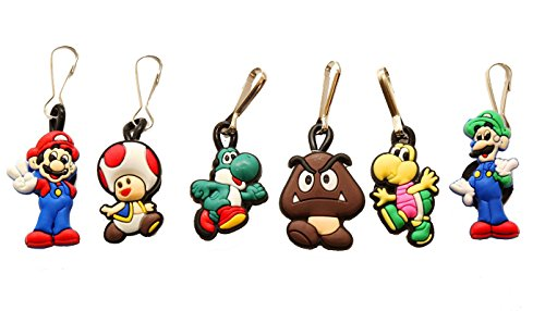 Pauline Mario Costume (AVIRGO 6 pcs Metal Clothes And Bags Decoration Zipper Pull Keyring Carabiner Set # 67-2)