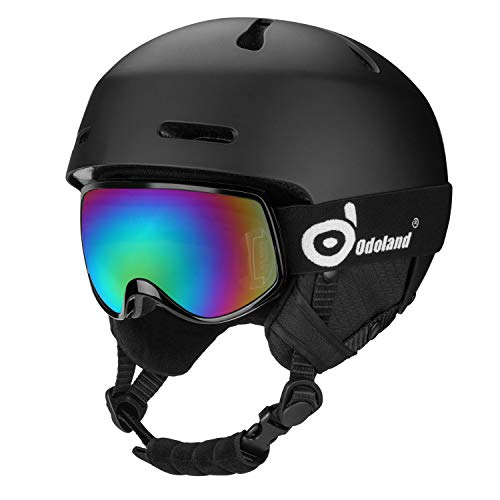 Odoland Snow Helmet with Ski Goggles for Kids and Youth, ASTM and EN1077 Certificated Ski Helmet for Skiing Skating Snowboarding, Shockproof & Universal Fit, Black X-Small...
