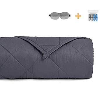 Image of Zankaso Weighted Blanket 15lbs - 48'x72',Full Size, Breathable Cotton Weighted Blanket for Adults 140~190lbs with Sleep Mask and Earplug,Grey Zankaso B07SVNQM7X Weighted Blankets