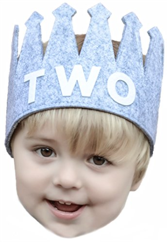 Second TWO Birthday Baby Boy Gray White Party Crown Hat (Party Toddler Hat)