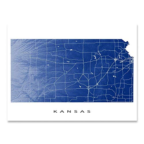 Kansas Map Print, KS State Outline, USA Wall Art Poster ()