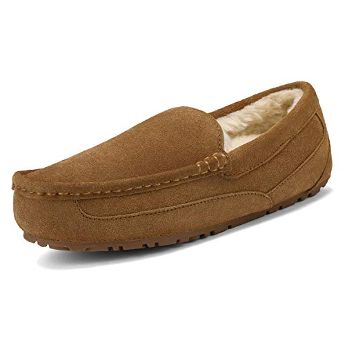 DREAM PAIRS Men's Au-Loafer-01 Tan Suede Faux Fur Slippers Loafers Shoes Size 12 M US