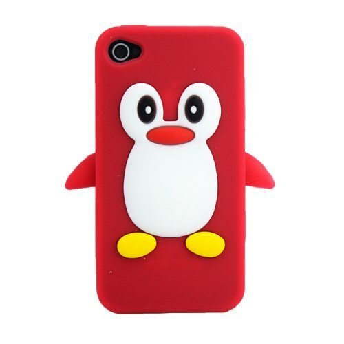 Apple iPhone 4/4S Pingouin Rouge Coque de protection Silicone Soft Case coque Cover 3D thematys®