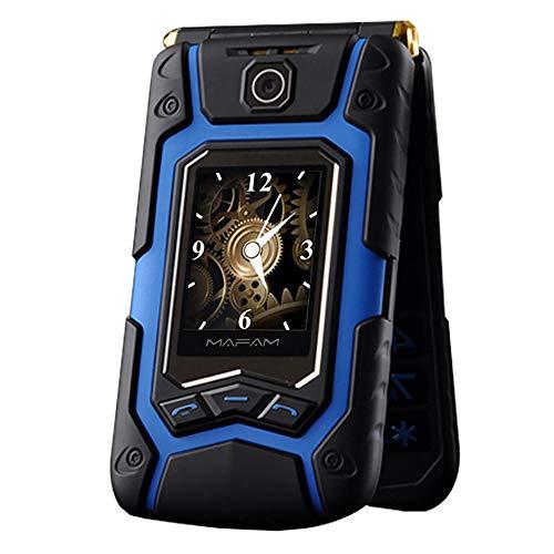 (Littleice Mafam X9 Dual Screen Sturdy Old Man Flip Phone Dual SIM One-Key Call Answer Long Standby Touch Screen Rugged Senior Mobile Phone)