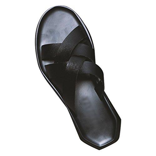 Pelle Moda Pantofole Toe Open Il Scivolare Leggere Libero Tempo per Comfort Uomo in per Sandali Nero Scarpe su Yujeet Vecchio qxtdAwgnYY