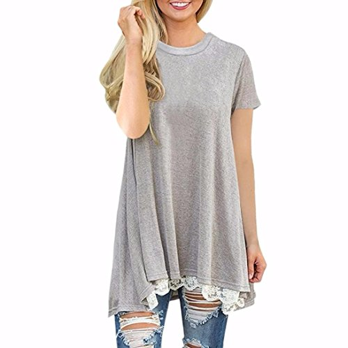iLH® Clearance Deals O-Neck T-Shirt,ZYooh Women Short Sleeve A-Line Lace Stitching Loose Blouse Tops (Gray, (TOP Deals)