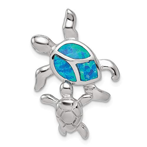 925 Sterling Silver Blue Inlay Created Opal Turtle Pendant Charm Necklace Sea Life Fine Jewelry For Women Gift Set