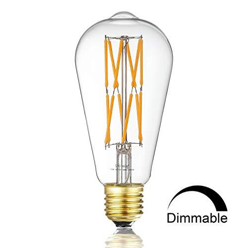 Leools 12W Dimmable Led Edison Bulb,100 Watt Equivalent Light Bulbs,ST64 Style Vintage LED Filament Light,Warm Golw 2200K,1000LM, E26 Medium Base Lamp, Antique Shape, (1 Pack) by Leools