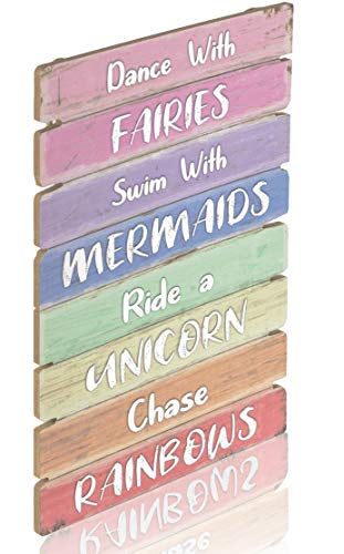 Something Unicorn - Pastel Rainbow Wall Hanging Sign for Teen Girls, Kid