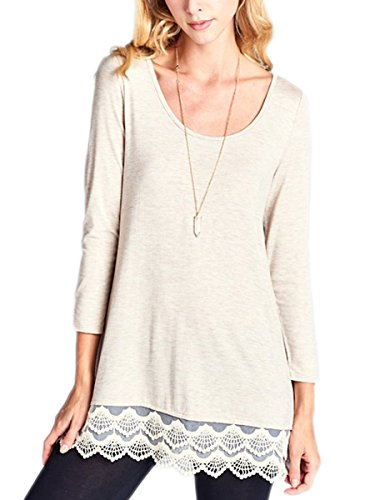 Aimebella Women's Long Sleeve Flared Tunic Top Lace Trim Scoop Neck T Shirt (Beige ()