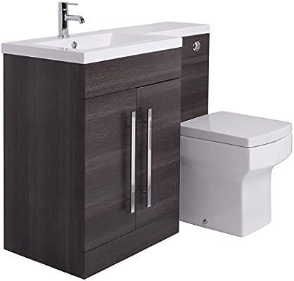 Aquariss Calm Möbel-WC-Set in Grau mit Integriertem Spülkasten und  linksseitigem Waschbecken