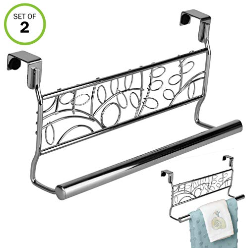 Evelots 2 Over Cabinet 9'' Towel Bars, Chrome Stainless Steel, Kitchen Bathroom 2 9'' by Evelots