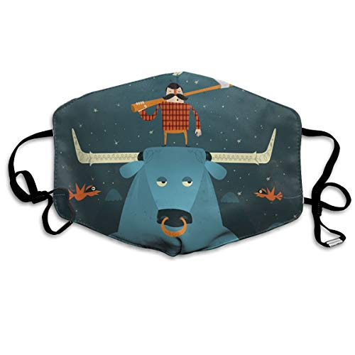 Unisex Paul Bunyan Printed Cotton Mouth-Masks Face Mask Polyester Anti-dust Masks (Paul Printed)