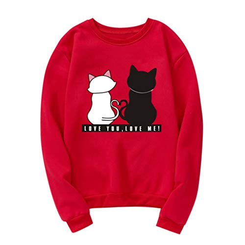 Yxiudeyyr Unisex Sweatshirt Womens Casual Long Sleeve Pullover Hoody Cute Cat Printed Shirt Tops Red