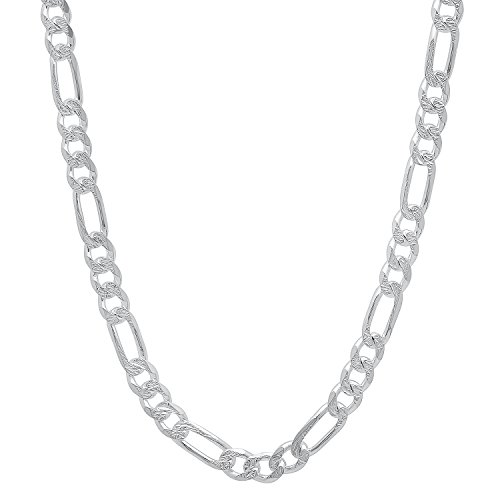 4.5mm 925 Sterling Silver Nickel-Free Diamond-Cut Figaro Link Chain, 24