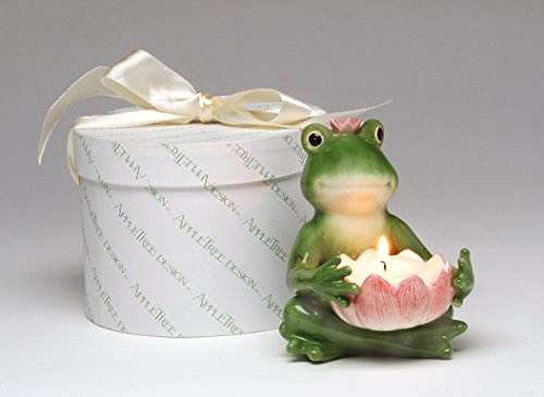 - Cosmos Gifts 30113 Fine Ceramic Frogalina Frog Holding Pink Water Lily Flower Tea Light Holder Figurine, 4