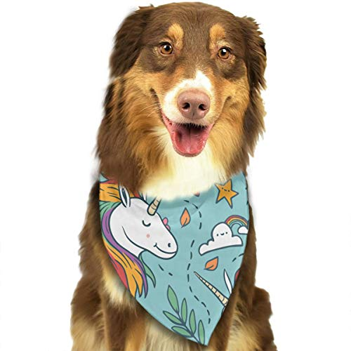 (CWWJQ88 Lovely Unicorn Pattern Bonsai Pet Dog Bandana Triangle Bibs Scarf - Easy to Tie On Your Dogs & Cats Pets Animals - Comfortable and Stylish Pet)