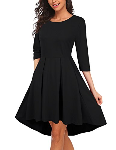 3/4 sleeve black sweater dress - 7