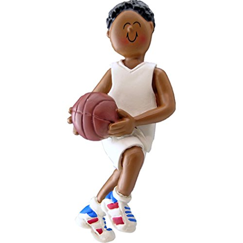 Personalized Basketball Team Boy Christmas Tree Ornament 2019 - African-American Man Athlete B-Ball Hobby School NBA Black Profession Grand-Son - Free Customization (Female Ethnic)