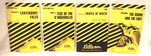 Lot of 4 Cliffs Notes Paperbacks, Hardy's Tess of The D'Urbervilles, Steinbeck Grapes of Wrath, Faulkner's The Sound And The Fury, Chaucer's Canterbury Tales, Cliffs Notes Paperback books