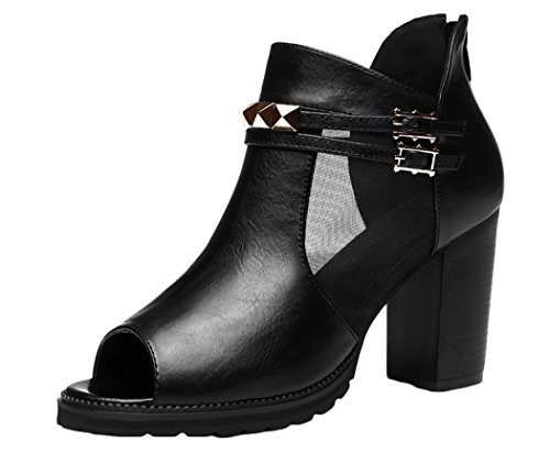 Passionow Double Buckle Metal Studded Fish Peep-toe Chunky Booties