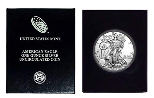 (2019 - American Silver Eagle in Plastic Air Tite and Blue Gift Box with our Certificate of Authenticity Dollar Uncirculated Us)