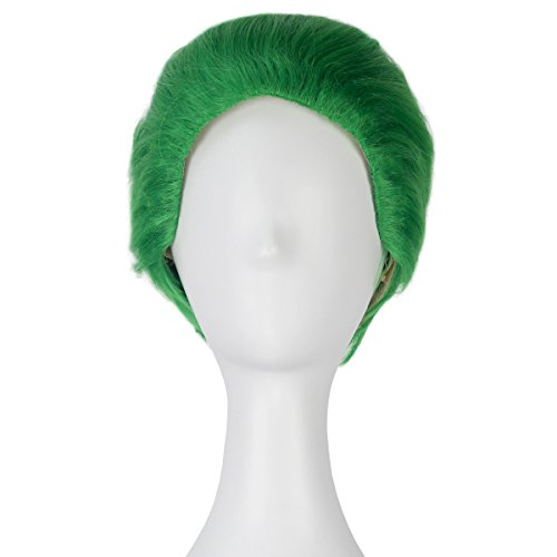 High Temperature Fiber Men Short Straight Green Hair Adult Prestyled Costume Cosplay -
