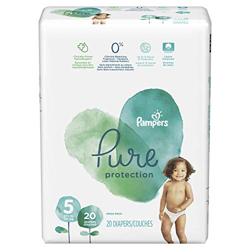Pampers Pure Disposable Baby Diapers, Hypoallergenic and Fragrance Free Protection, Size 5, 20 Count