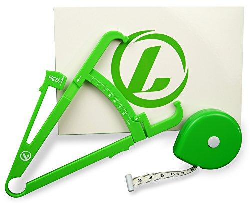 LAZURA Körperfettmessgerät | Caliper und Körper-Maßband | schnell & einfach Körperfett-anteil und BMI messen | unkompliziertes Online-Tool inklusive | Körperfettzange/ Fettmesser & Umfangsmessband | 100% Geld-zurück-Garantie