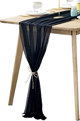 BOXAN Gorgeous Black Silky Sheer Table Runner 30x120 Inch for Romantic Wedding Decor, Chic Bridal & Baby Shower, Christmas Party Birthday Decorations]()