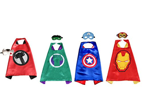 Majika Dress Up Kidz Costumes Cartoon 4 Satin Capes with Matching Felt Masks (4 Pack (Halloween Accessories Hk)