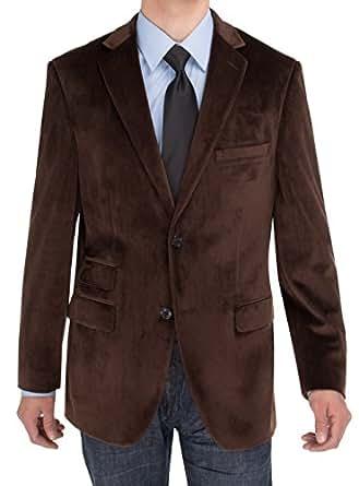 Salvatore Exte Mens Two Button Blazer Modern Fit Velvet Side-Vent Suit Jacket (36 Short US / 46 Short EU, Brown)
