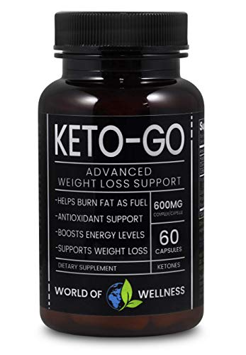 Keto Diet Pills - Science Approved Ketosis Pure Fat Burning Supplement 600 MG - Energy Boosting Caffeine Electrolyte - Zero Carb Ketone Magnesium Vitamin and Weight Control Antioxidant (60 Capsules)