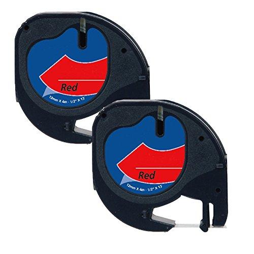 Prestige Cartridge 91203 Lot de 2 Rubans pour Etiqueteuse Dymo LetraTag 12 mm x 4 m Noir sur Rouge 2 x 91203