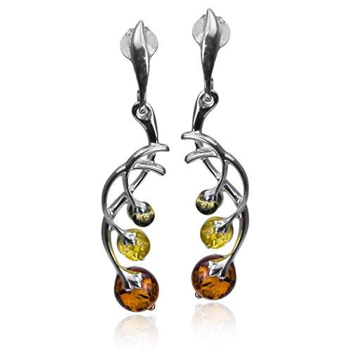 Sterling Silver Multicolor Amber Berries Earrings
