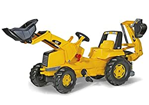 rolly toys CAT Construction Pedal Tractor: Backhoe Loader (Front Loader and Excavator/Digger), Youth Ages 3+