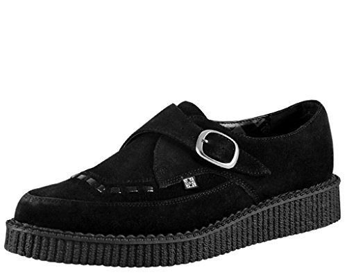 Buckle Creepers (T.U.K. Unisex Shoes Pointed Monk Buckle Brothel Creeper, Black Suede, US Mens's 9/ US Women's 11)
