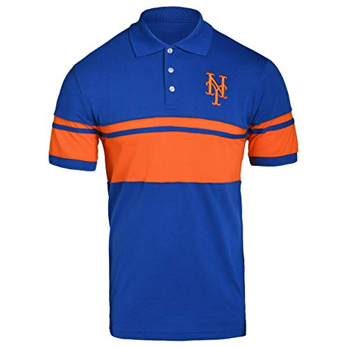 FOCO MLB New York Mets Cotton Stripe Polo - Mens Extra Large