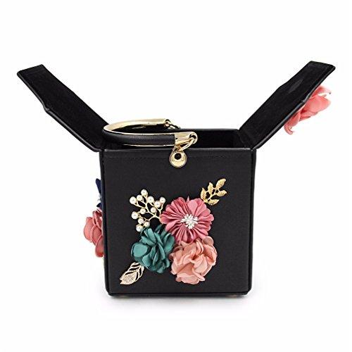 Fleur Sac Embrayages Black Soirée Clutch Dames Femelle Haoling Femmes Noir Rose Mariage De Purse qUZwEIE