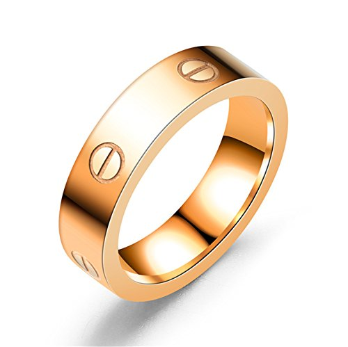 BESTJEW Rose Gold Love Ring Screw Design Promise Engagement Wedding Couples Band Titanium Stainless Steel Size 5-10