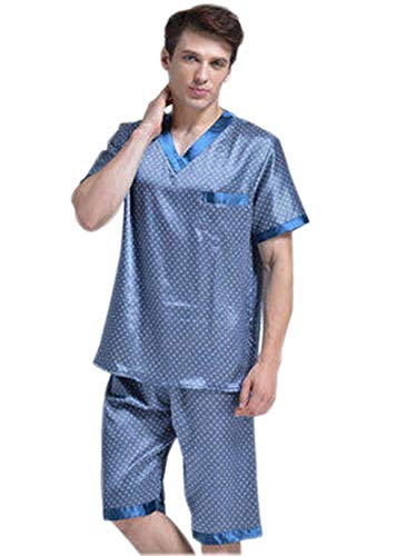 Due Sleepwear Set Leggero Chemise Pigiama Pantaloncini Manica Uomo Homewear corta Bath pezzi Pigiama Top Estate Moda Blau qwv8T7Sxq