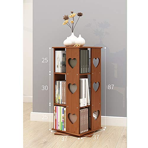 Bookshelf Xiaomei, 360° Rotating Racks Bamboo Children's Bookcase Living Room Simple Floor Grid (Color : Heart-Shaped, Size : 87cm)