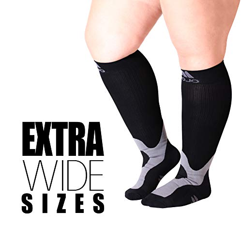 (4-XL Mojo Compression SocksTM for Large Ankle and Full Calf - Plus Sized Support Socks for Men & Women - XXXXL 20-30mmHg Compression Stockings for Varicose Veins & Edema - Easy to get on Stretchable Ma)